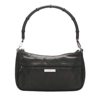 Gucci Black Bamboo Leather Baguette Bag