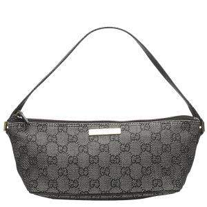 Gucci Grey GG Canvas Boat Baguette Bag