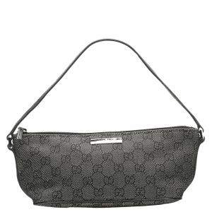 Gucci Black GG Canvas Boat Baguette Bag