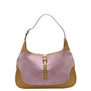 Gucci Pink/Brown Leather Suede Jackie Shoulder Bag