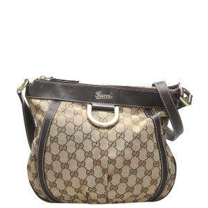Gucci Brown/Beige GG Canvas Abbey D-Ring Crossbody Bag