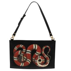 Gucci Black Leather Kingsnake Print Clutch Bag