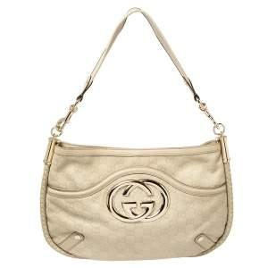 Gucci Cream Guccissima Leather Medium Britt Hobo