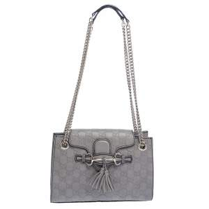 Gucci Grey Guccissima Leather Small Emily Chain Shoulder Bag