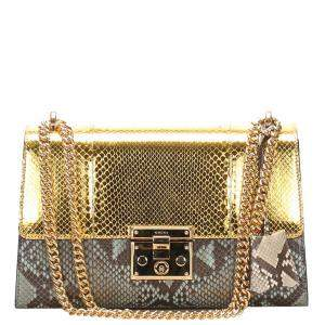 Gucci Gold Medium Padlock Python Leather Crossbody Bag