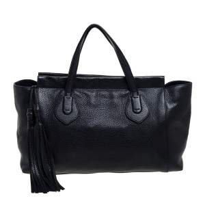 Gucci Black Pebbled Leather Lady Tassel Tote