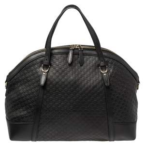 Gucci Black Micro Guccissima Leather Nice Satchel