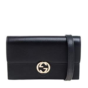Gucci Black Leather Interlocking G Wallet on Chain