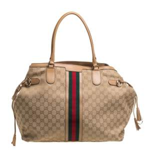 Gucci Beige  GG Canvas And Leather Web Tote