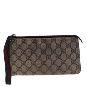 Gucci Beige/Brown GG Supreme Canvas and Leather  Wristlet Clutch