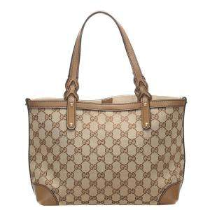 Gucci Beige/Brown GG Canvas Craft Tote Bag