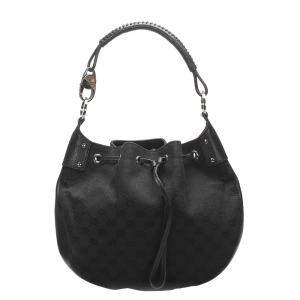Gucci Black GG Canvas Hobo Bag