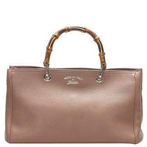 Gucci Brown Leather Bamboo Shopper Bag