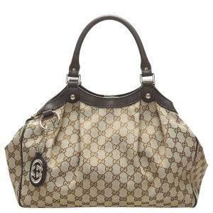 Gucci Brown/Beige Guccissima Canvas Sukey Tote Bag