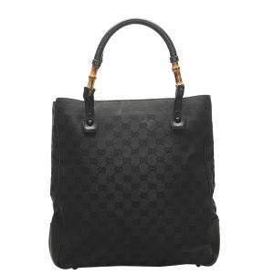 Gucci Black Bamboo GG Canvas Tote Bag