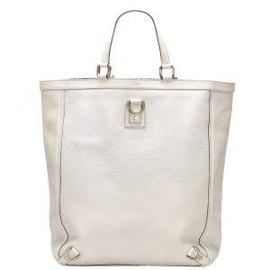 Gucci White Leather Abbey D-Ring Tote Bag