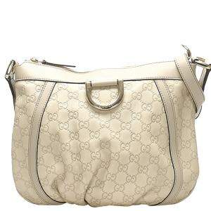 Gucci White Abbey D-Ring Gucissima Leather Crossbody Bag