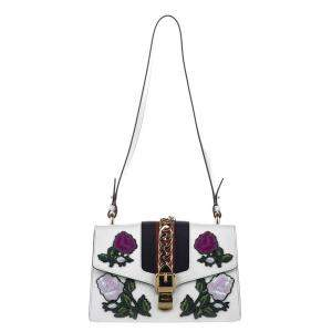 Gucci White Embroidered Sylvie Leather Shoulder Bag