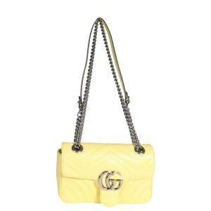 Gucci Pastel Yellow Matelasse Leather GG Marmont Mini Bag