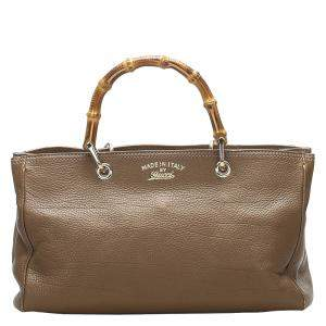 Gucci Brown Leather Bamboo Shopper Satchel bag