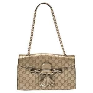 Gucci Metallic Beige Guccissima Leather Medium Emily Shoulder Bag