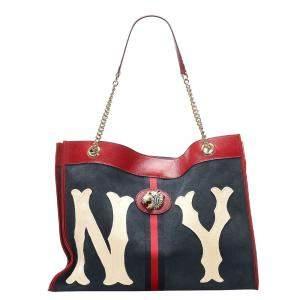 Gucci Blue/Navy Blue Large NY Yankees Rajah Suede Tote Bag