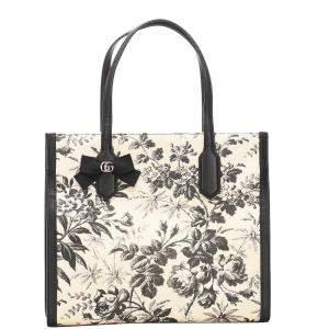 Gucci Black/White Herbarium Canvas Tote Bag