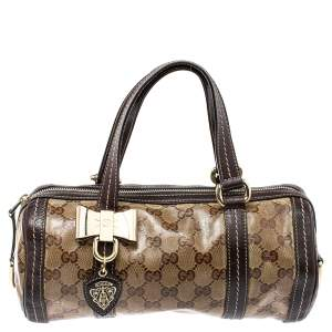 Gucci Ebony GG Crystal Canvas and Leather Small Duchessa Boston Bag