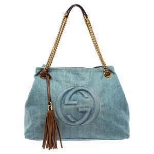 Gucci Blue/Brown Denim and Leather Medium Soho Chain Tote