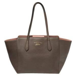 Gucci Dark Brown Leather Small Swing Tote
