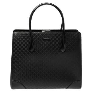 Gucci Black Bright Diamante Leather Medium Tote