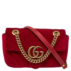 Gucci Red Matelasse Velvet Mini GG Marmont Shoulder Bag