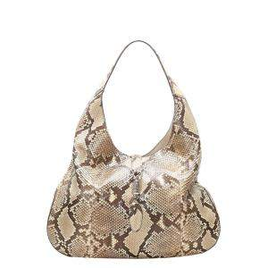 Gucci Brown/Beige Soft Python Leather Hobo Bag