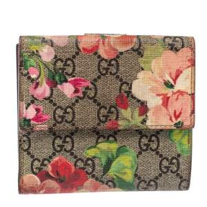 Gucci Multicolor GG Supreme Blooms Canvas French Flap Wallet