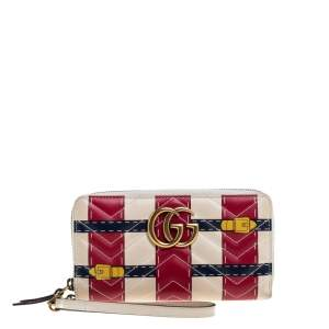 Gucci Multicolor GG Marmont Leather Trompe L'Oeil Zip Around Wristlet Wallet