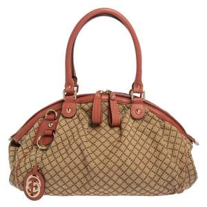 Gucci Coral Pink/Beige Diamante Canvas and Leather Medium Sukey Boston Bag
