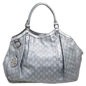 Gucci Metallic Silver Guccissima Leather Large Sukey Tote