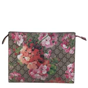 Gucci Beige GG Supreme Blooms Canvas and Leather Pouch