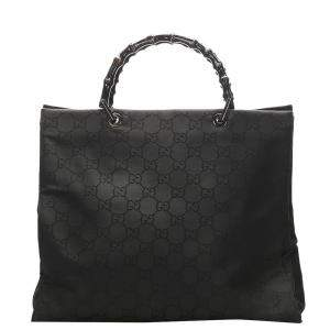 Gucci Black GG Canvas Nylon Bamboo Tote Bag