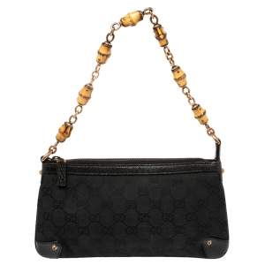 Gucci Black GG Canvas and Leather Bamboo Pochette Accessories