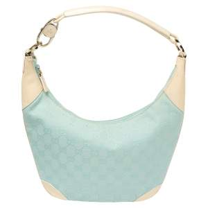 Gucci Light Blue/Cream GG Canvas And Patent Leather Hobo