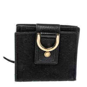 Gucci Black GG Canvas and Leather D Ring Compact Wallet