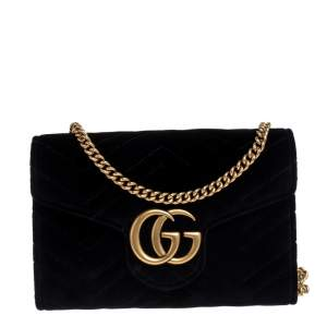 Gucci Black Chevron Velvet GG Marmont Wallet on Chain