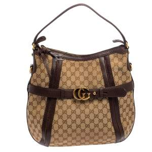 Gucci Beige/Brown GG Canvas and Leather Medium GG Running Hobo