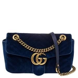 Gucci Royal Blue Velvet Small GG Marmont Shoulder Bag