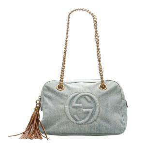 Gucci Blue Denim Soho Chain Shoulder Bag