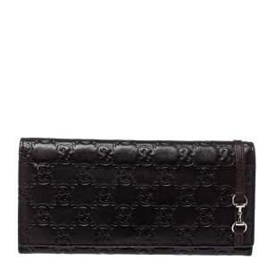 Gucci Dark Brown Guccissima Leather Flap Continental Wallet