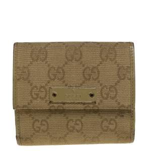 Gucci Olive Green GG Canvas and Leather Compact Wallet