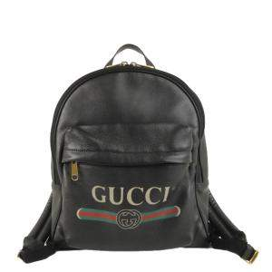 Gucci Black Leather Logo Backpack Bag