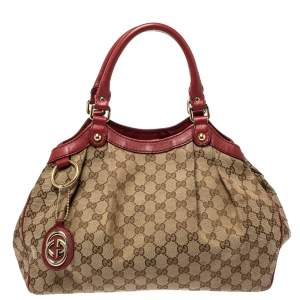 Gucci Maroon/Beige GG Canvas and Leather Medium Sukey Tote